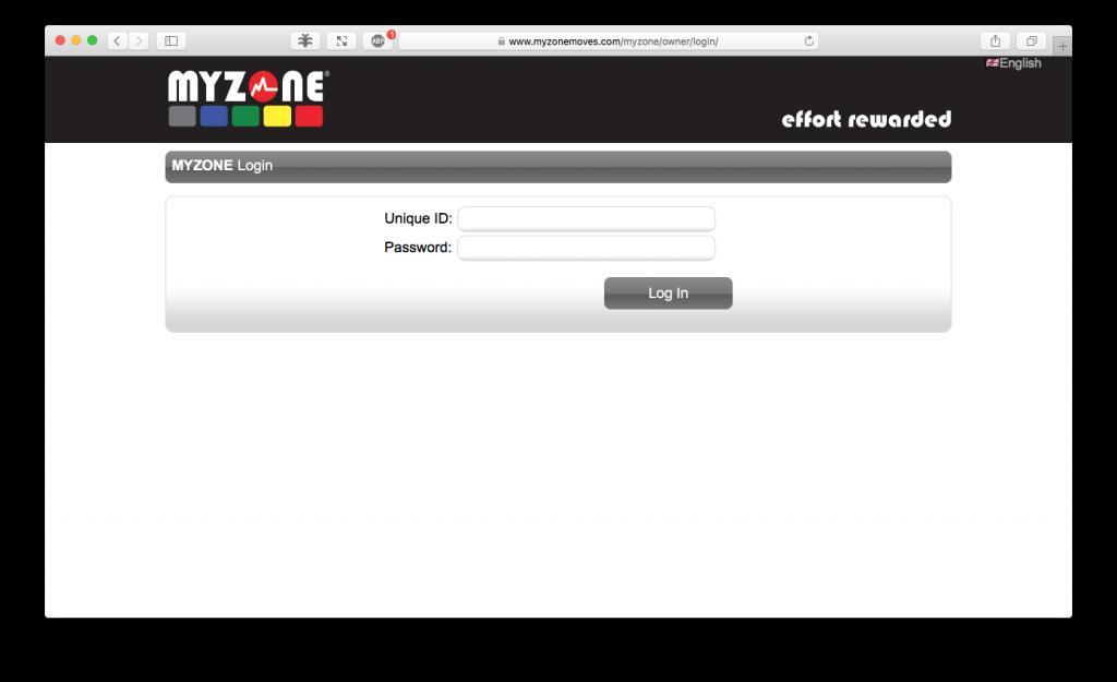 MYZONE Club Login screenshot
