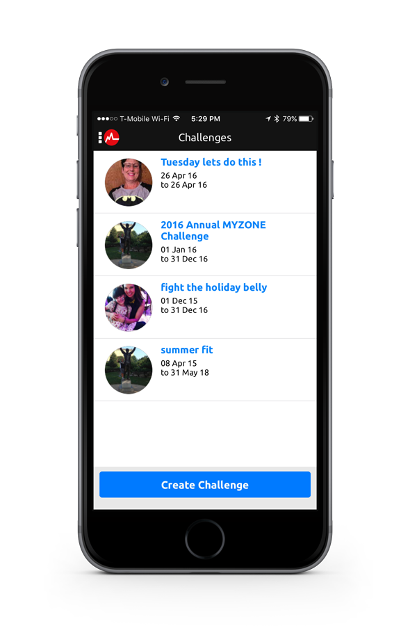 MYZONE App Challenge screen