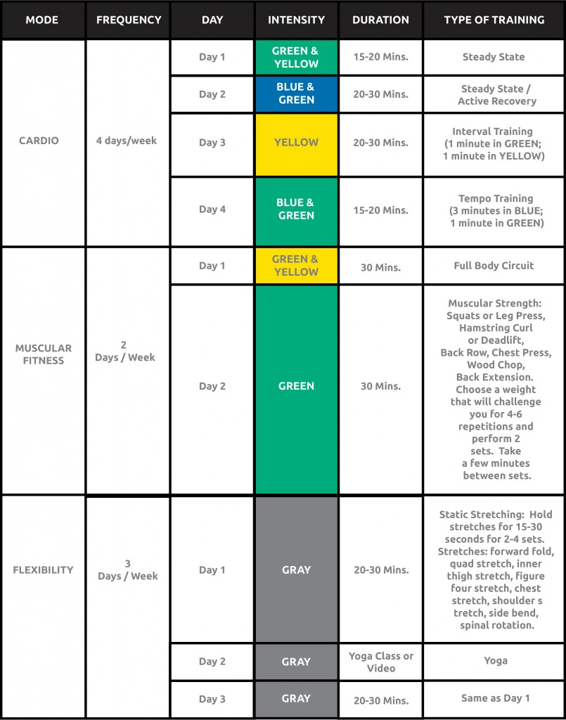 MYZONE one week training plan