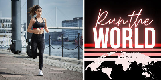 Woman running with Myzone heart rate monitor next to WIFA Run the World logo